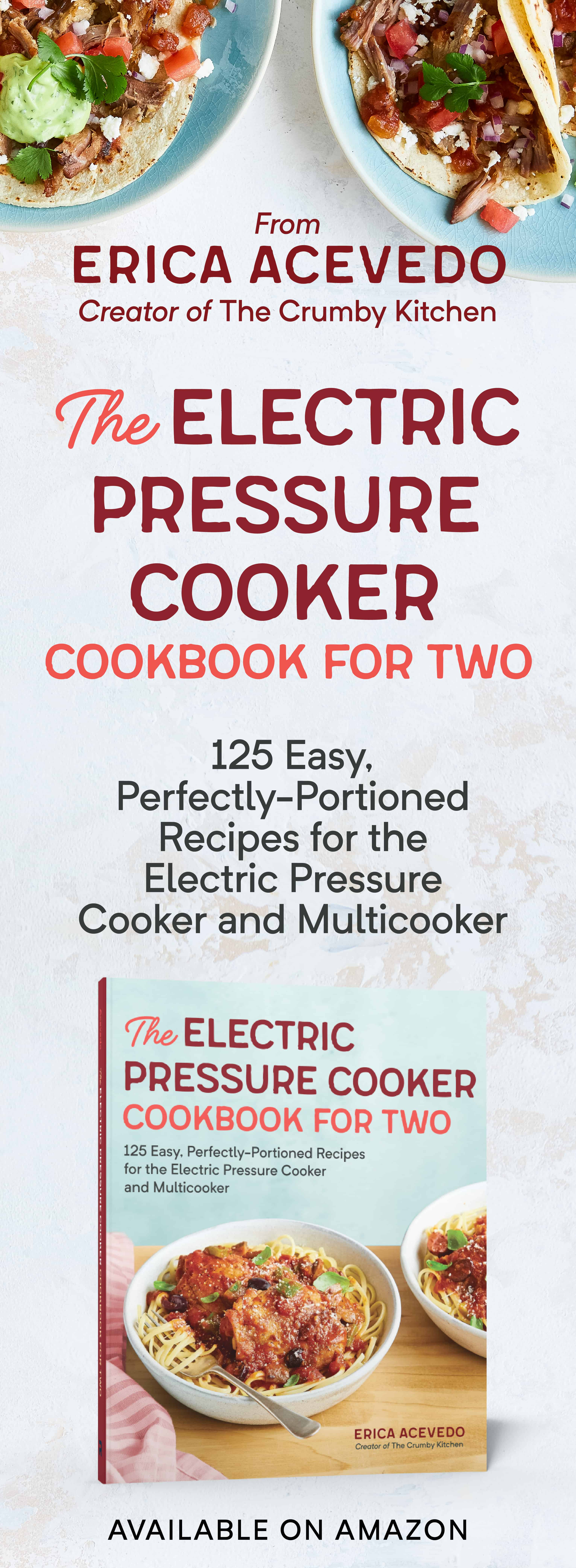 Perfect for anyone who needs recipes in smaller quantities, this electric pressure cooker cookbook serves family favorite meals without wasting food or leaving your fridge full of leftovers. With over 100 quick and easy recipes, plus an overview on how to get the most out of your electric pressure cooker, The Electric Pressure Cooker Cookbook For Two keeps taste buds happy and Tupperware empty and takes the guesswork out of cutting recipes in half, helping you create full meals for both of you!