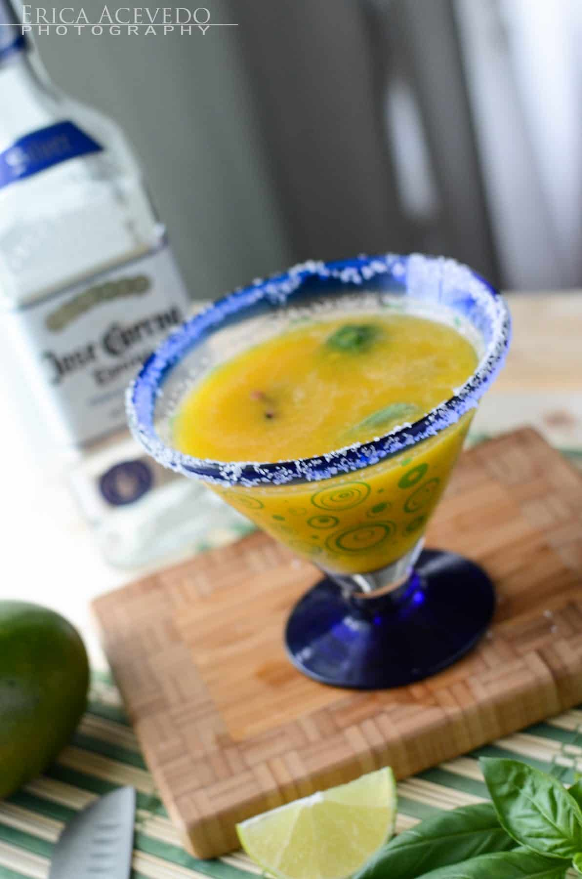 Muddled Basil Blueberry Mango Margarita
