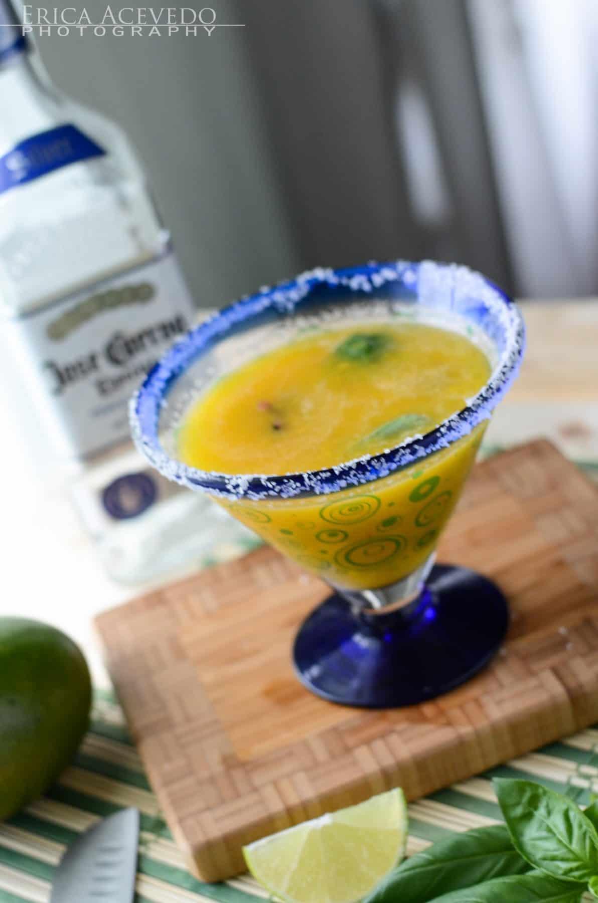 Muddled Basil Blueberry Mango Margarita