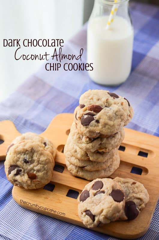 Coconut Almond Dark Chocolate Chip Cookies