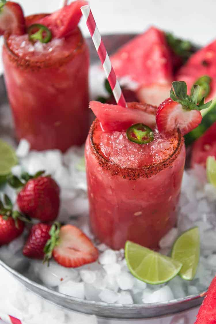 Spicy Strawberry Watermelon Margarita