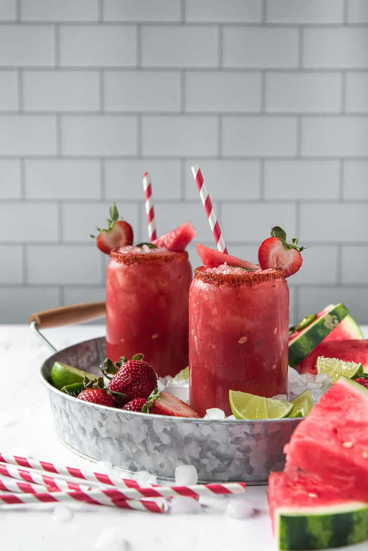 strawberry watermelon margaritas in a serving tray