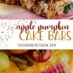 Apple Pumpkin Cake Bars | Super moist and flavorful pumpkin cake bars, crowned with an apple-pear streusel topping and a cinnamon cream cheese drizzle!