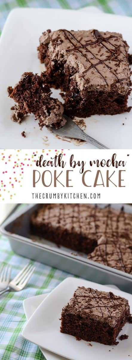 ThisDeath By Mocha Poke Cake is adevilish little chocolate cake, infused and topped with Irish cream, vanilla bean, and the World's Strongest Coffee!