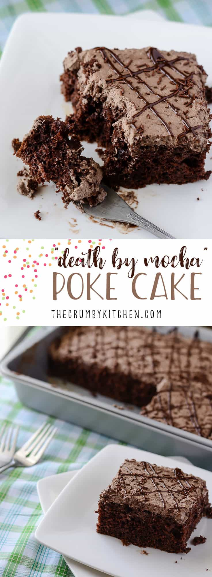 This Death By Mocha Poke Cake is a devilish little chocolate cake, infused and topped with Irish cream, vanilla bean, and the World's Strongest Coffee!