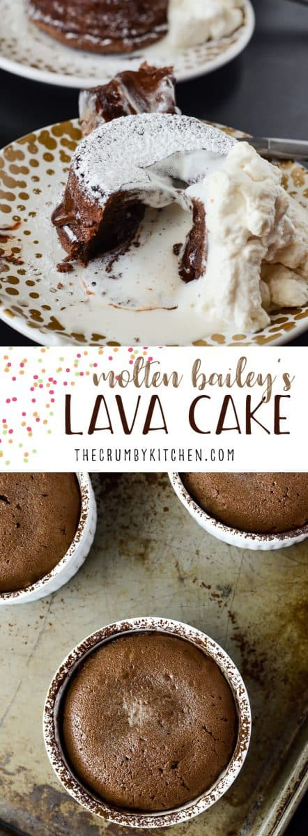 Acreamy twist on a chocoholic's favorite, this Molten Bailey's Lava Cake is infused and topped with Irish Creme.