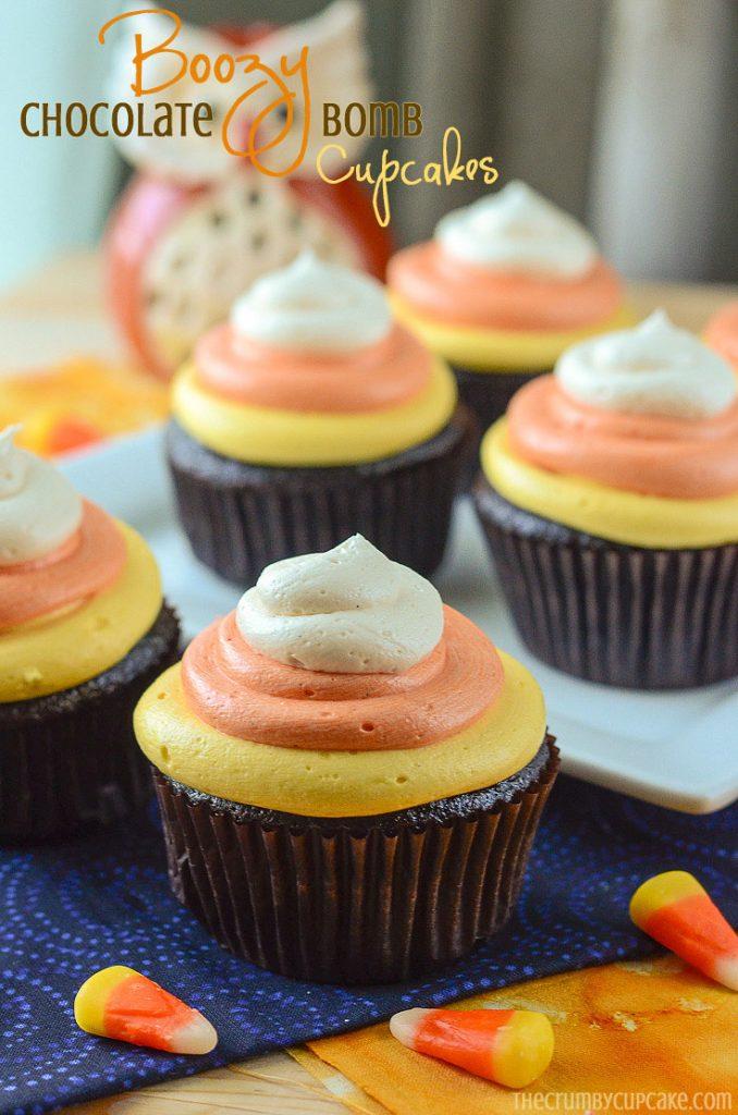 Boozy Chocolate Bomb Cupcakes