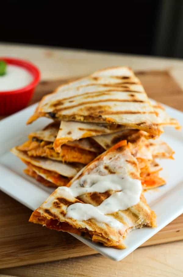 Easy Buffalo Salsa & Chicken Quesadillas