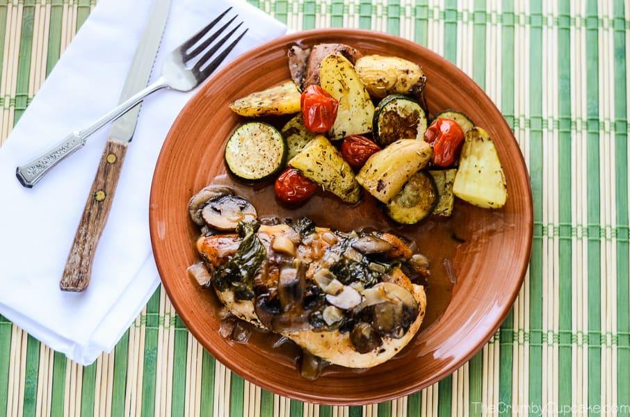Mushroom Spinach Chicken with White Wine Sauce