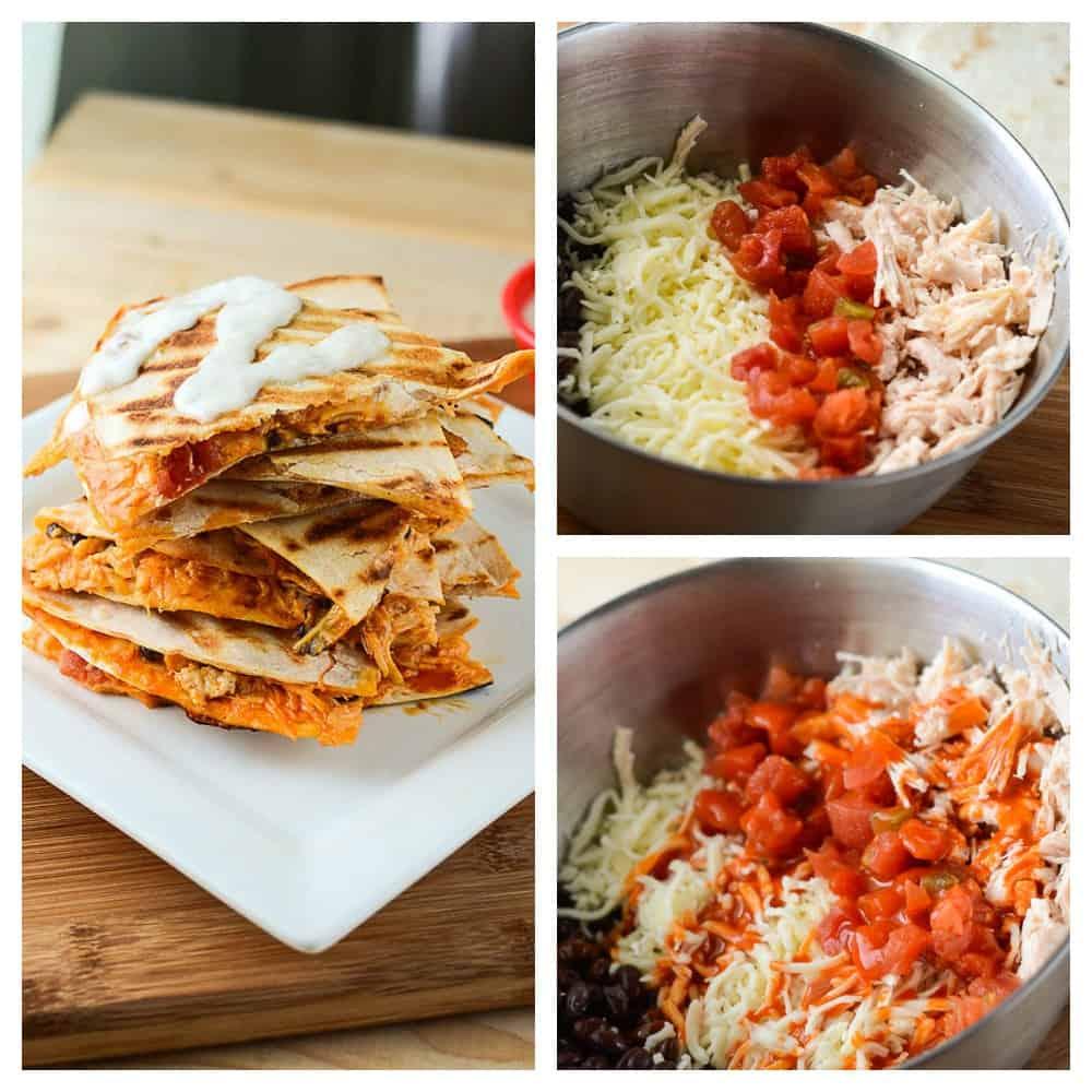 Easy Buffalo Salsa & Chicken Quesadillas