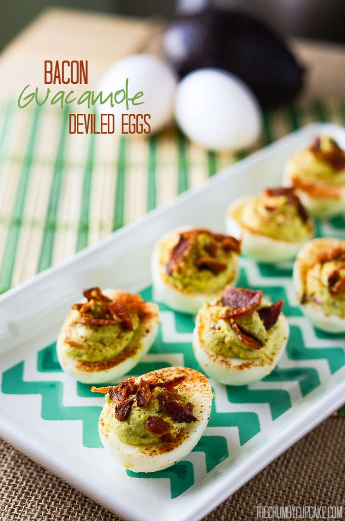 Bacon Guacamole Deviled Eggs   Two appetizer favorites in one, these Deviled Eggs take on the best qualities of the popular avocado dip and nix the chip!