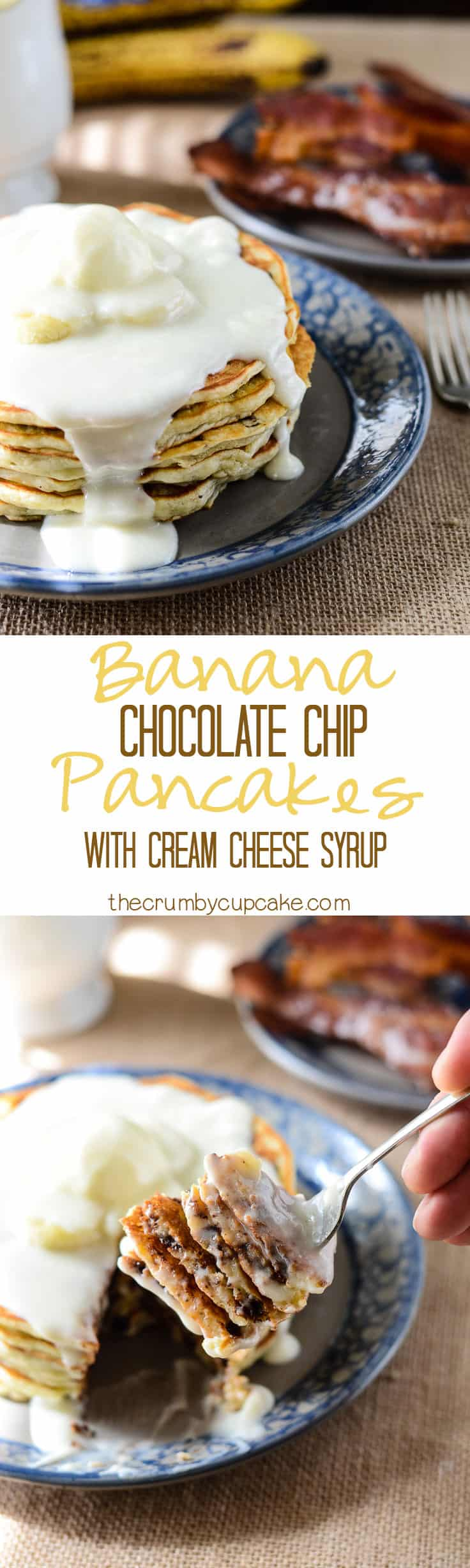 Banana Chocolate Chip Pancakes: perfectly light and fluffy banana pancakes, studded with handfuls of chocolate chips, and topped with an ooey-gooey cream cheese
