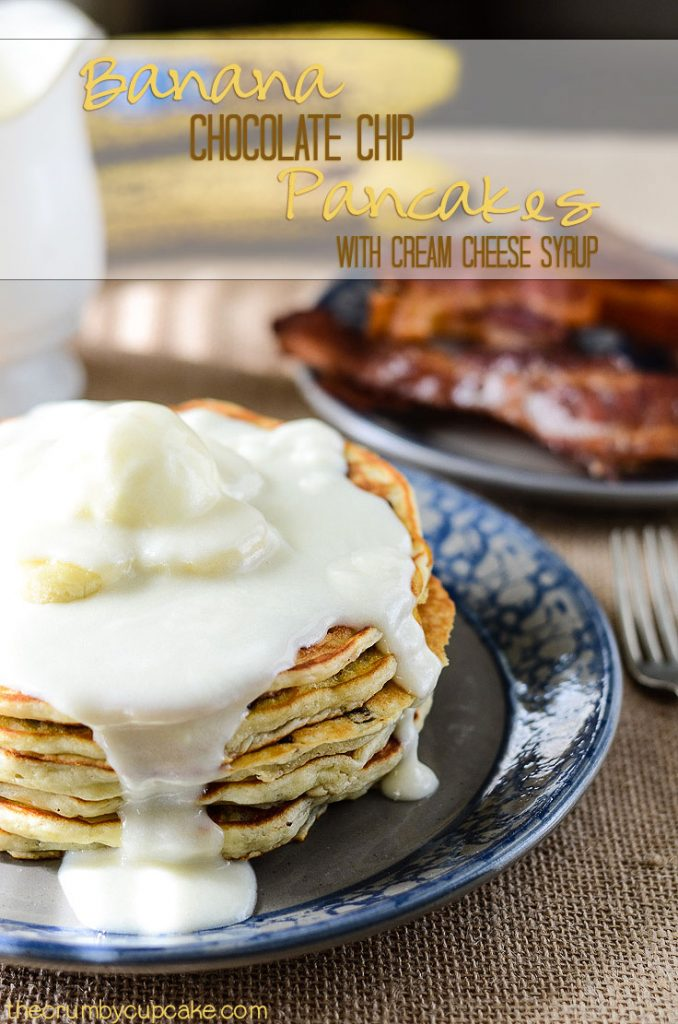 "Banana Chocolate Chip Pancakes | Perfectly light and fluffy banana pancakes, studded with handfuls of chocolate chips, and topped with an ooey-gooey cream cheese ""syrup!"""
