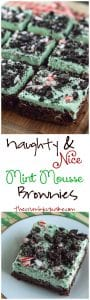 Naughty & Nice Mint Mousse Brownies | Moist and fudgy dark chocolate brownies, topped with a minty, fluffy cloud of mousse and studded with cookie crumbles (naughty) & candy canes (nice)!