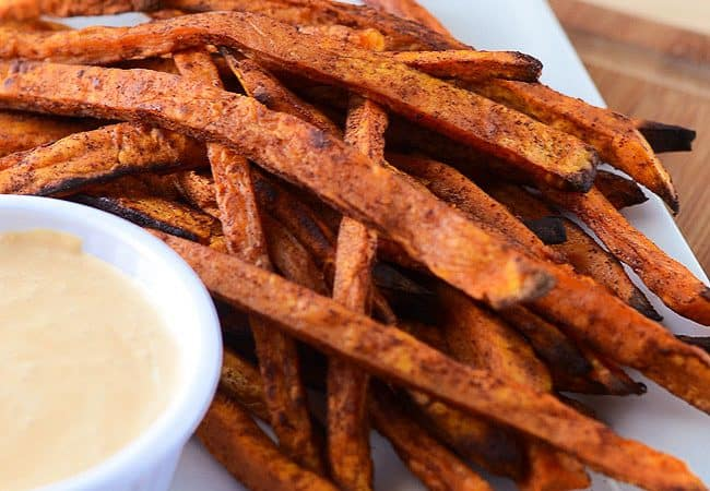 Pumpkin Spiced Sweet Potato Fries with Caramel Marshmallow Dipping Sauce | from The Crumby Cupcake for My Cooking Spot