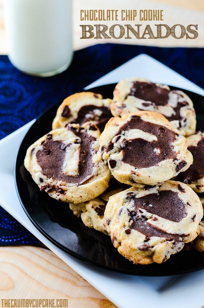Chocolate Chip Cookie Bronados   A sturdy, cut-out style chocolate chip cookie, filled with brownie batter, rolled, sliced, and baked to brookie-like perfection.
