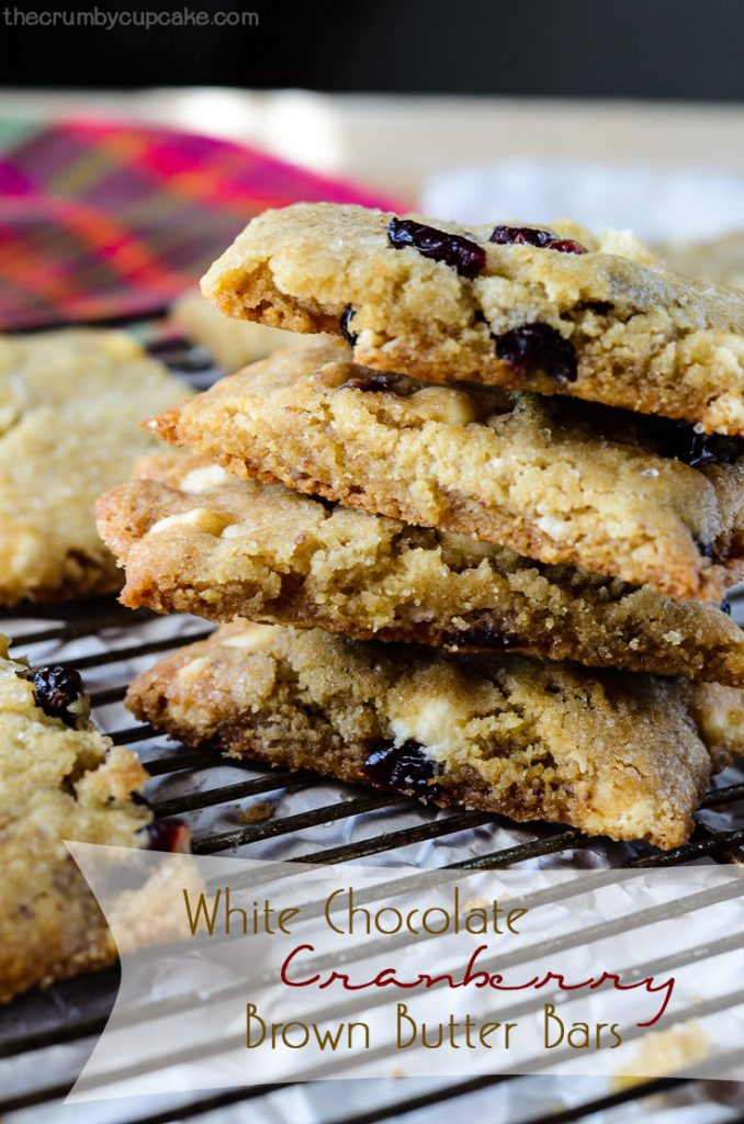 White Chocolate Cranberry Brown Butter Bars | An in-your-face brown buttery bar cookie, stuffed with dried cranberries and white chocolate chips, with a hint of saltiness on top.