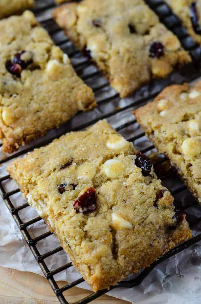 White Chocolate Cranberry Brown Butter Bars
