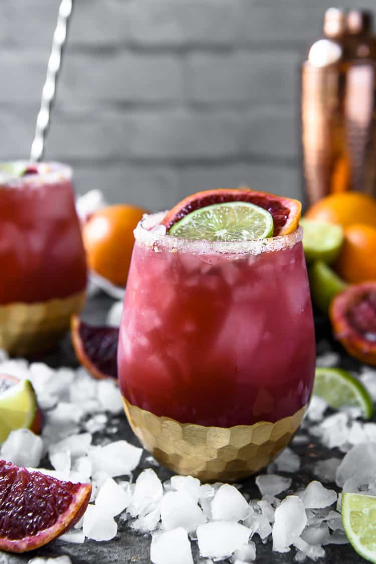 A Blood Orange Margarita made with Rose wine