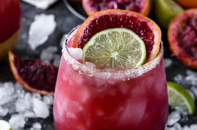 A closeup of a Sparkling Blood Orange Margarita