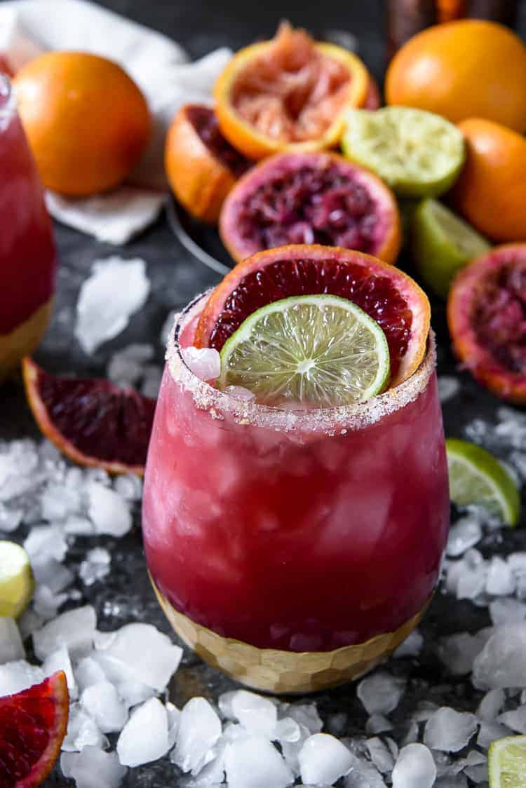 A closeup of a Sparkling Blood Orange Margarita