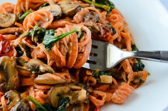 Sweet Potato Noodle Tomato Mushroom Alfredo