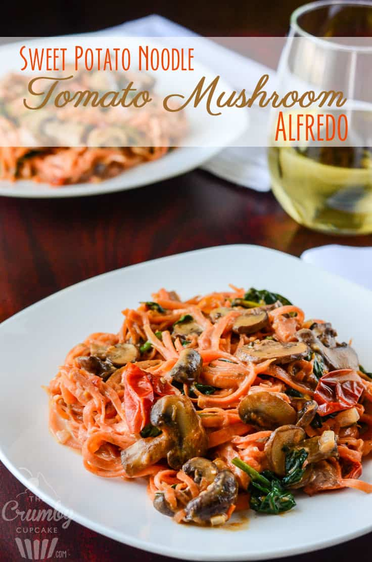 Sweet Potato Noodle Tomato Mushroom Alfredo | A lightened up, gluten free, vegetarian spin on the delicious Italian Fettucine Alfredo. Molto bene!