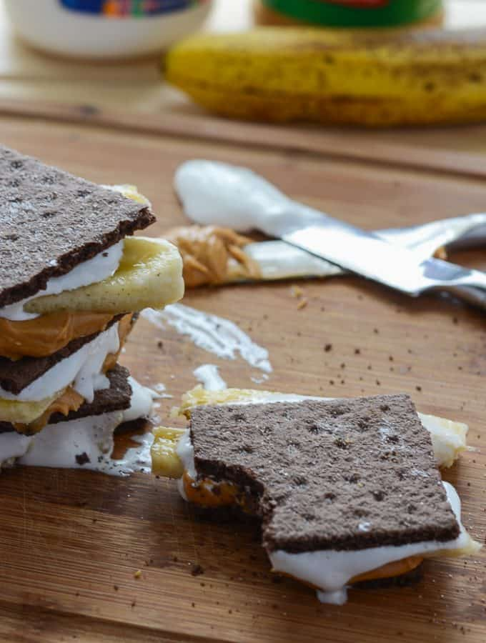 Easy Peanut Butter Banana S'mores | Get the recipe at My Cooking Spot!