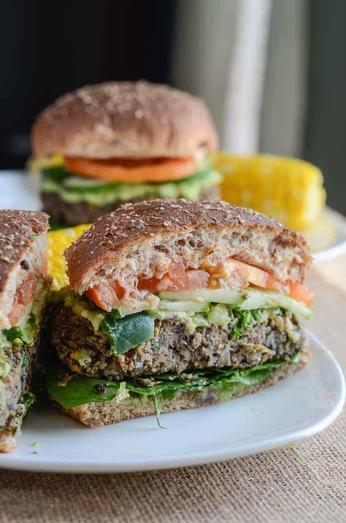 Mushroom Spinach Chickpea Burgers