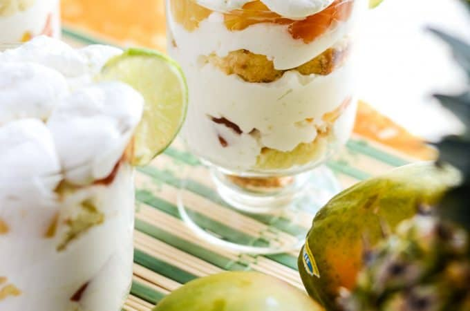 Tropical Yogurt Trifle | A deliciously light, individual tropical treat, made with angel food cake, fresh lime whipped cream, select seasonal fruit, and Yoplait Greek 100 Whips!