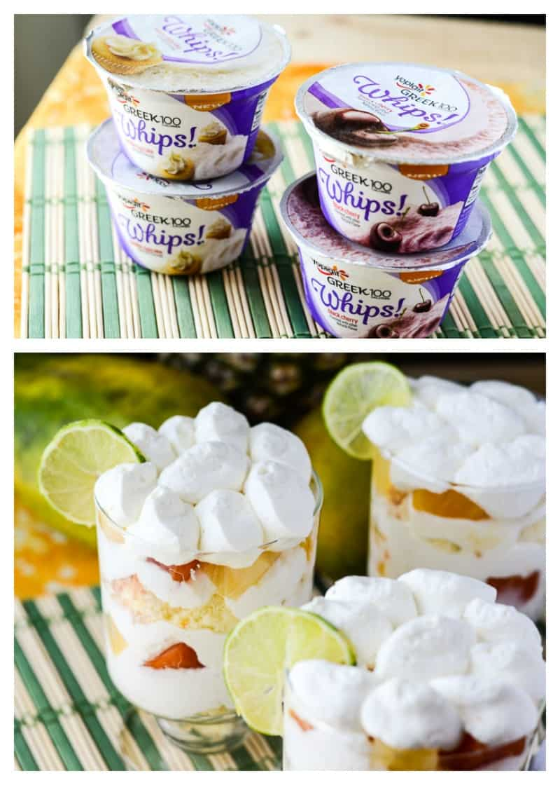 Tropical Yogurt Trifle | A deliciously light Tropical Yogurt Trifle for one, made with angel food cake, fresh lime whipped cream, tropical fruit, and Yoplait Greek 100 Whips!