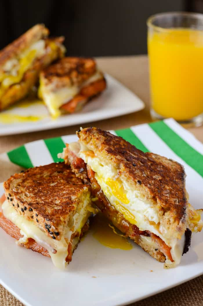 Havarti Breakfast Grilled Cheese Sandwich   A totally perfect, simple breakfast grilled cheese sandwich, made with crispy bacon, fried eggs, and two kinds of Havarti cheese!