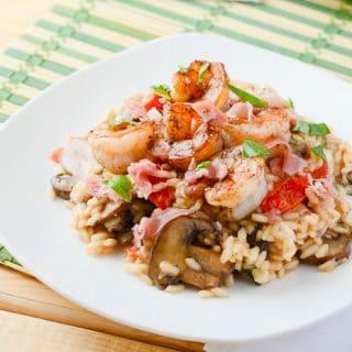 Mushroom Caprese Risotto with Balsamic Shrimp