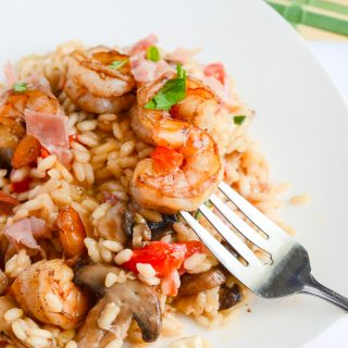 Mushroom Caprese Risotto with Balsamic Shrimp
