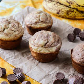 Peanut Butter Banana Marble Muffins | Get the recipe at My Cooking Spot!