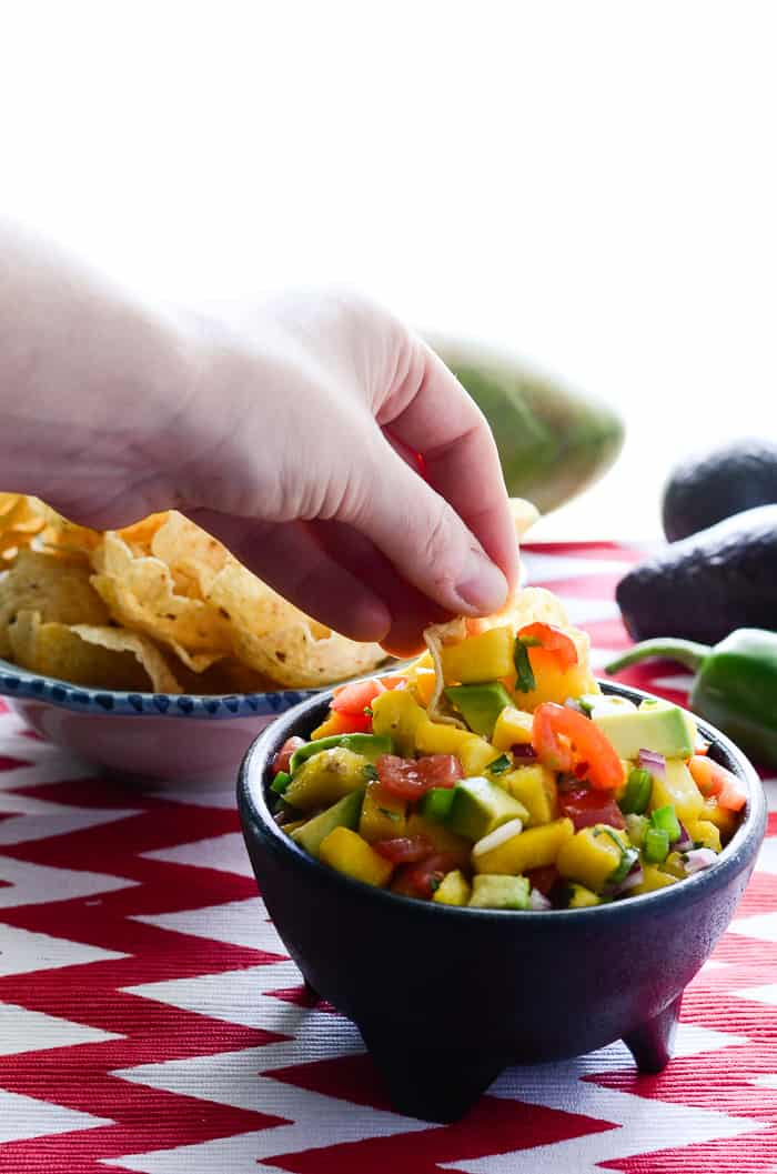 Tropical Avocado Salsa | A slightly spicy, tangy, and sweet avocado salsa, playfully studded with chunks of colorful tomato, pineapple, jalapeno, and mango.