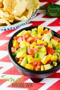 Tropical Avocado Salsa   A slightly spicy, tangy, and sweet salsa, playfully studded with chunks of colorful avocado, pineapple, and mango.