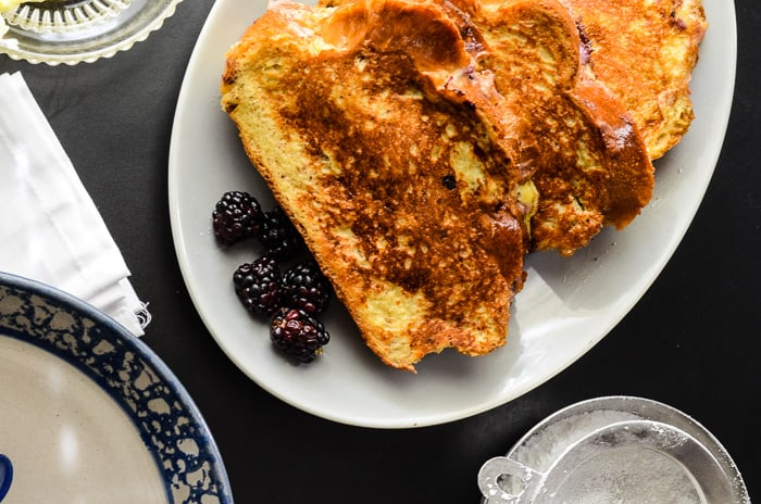 Blackberry Almond Mascarpone Stuffed French Toast | Classic French Toast, filled with a mildly sweet and tart blackberry mascarpone filling, and dredged in a light almond-flavored custard base.