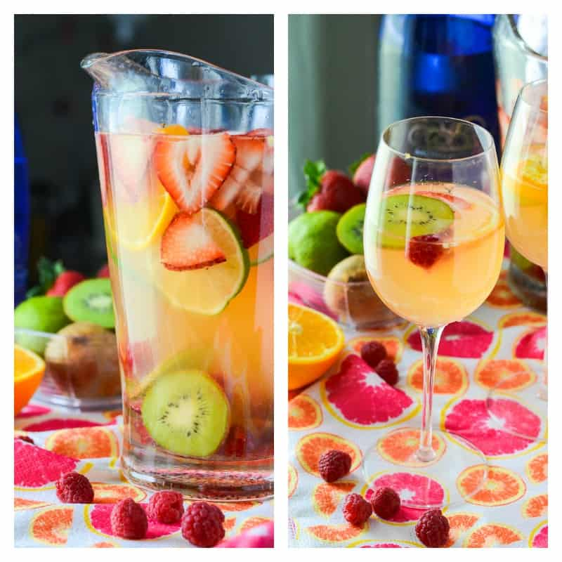Springtime Sangria | Sweet, bubbly, and aromatic, this fruity Moscato sangria cocktail is steeped in citrus, berries, and kiwi, and is perfect for any springtime get-together!