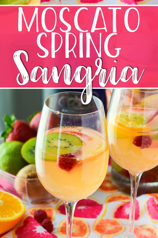 Sweet, bubbly, and aromatic, this fruity Spring Moscato Sangria is steeped in citrus, berries, and kiwi, and is perfect for any springtime get-together!