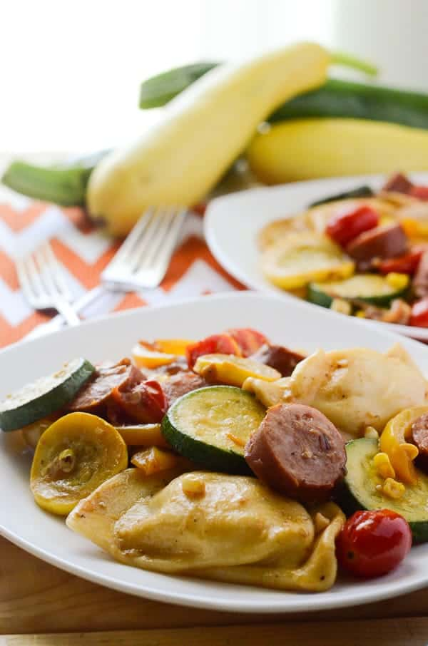 Kielbasa and Pierogies with Summer Vegetables