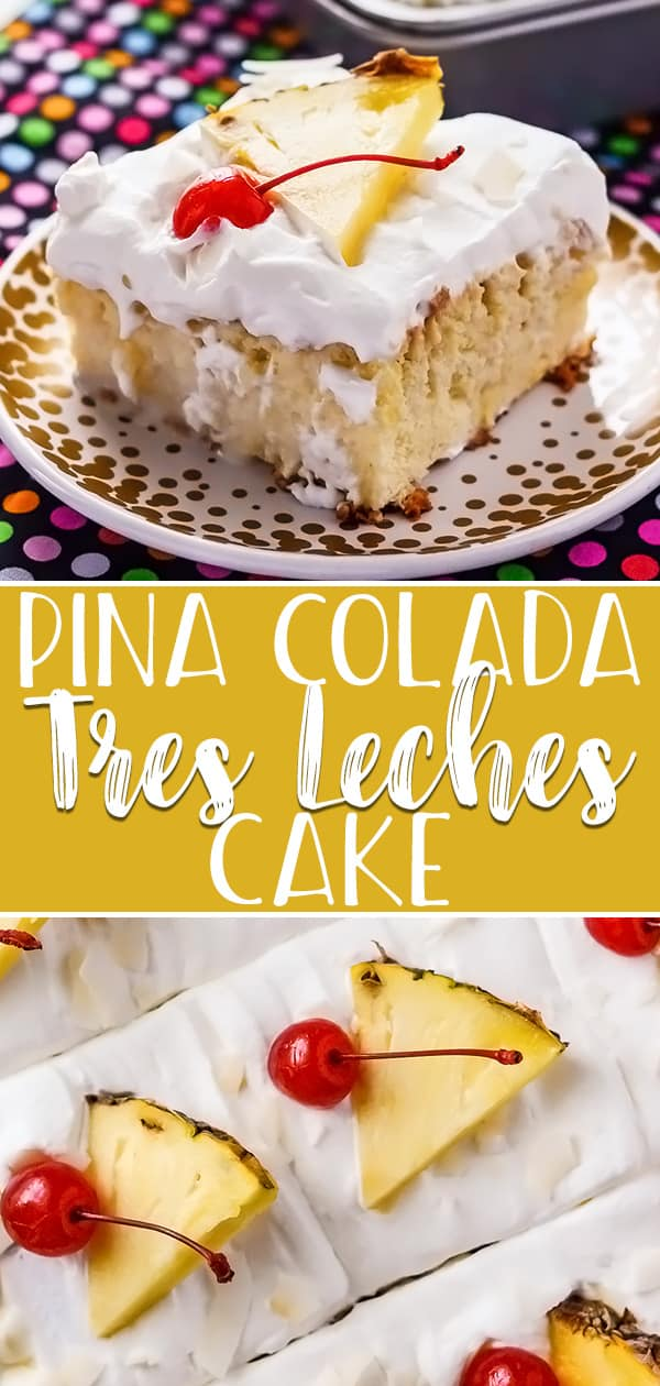 You can have your cake and drink it too with this luscious Pina Colada Tres Leches Cake! Adding the flavors of a favorite fruity summer cocktail puts an even more tropical twist on an already delicious Hispanic dessert!