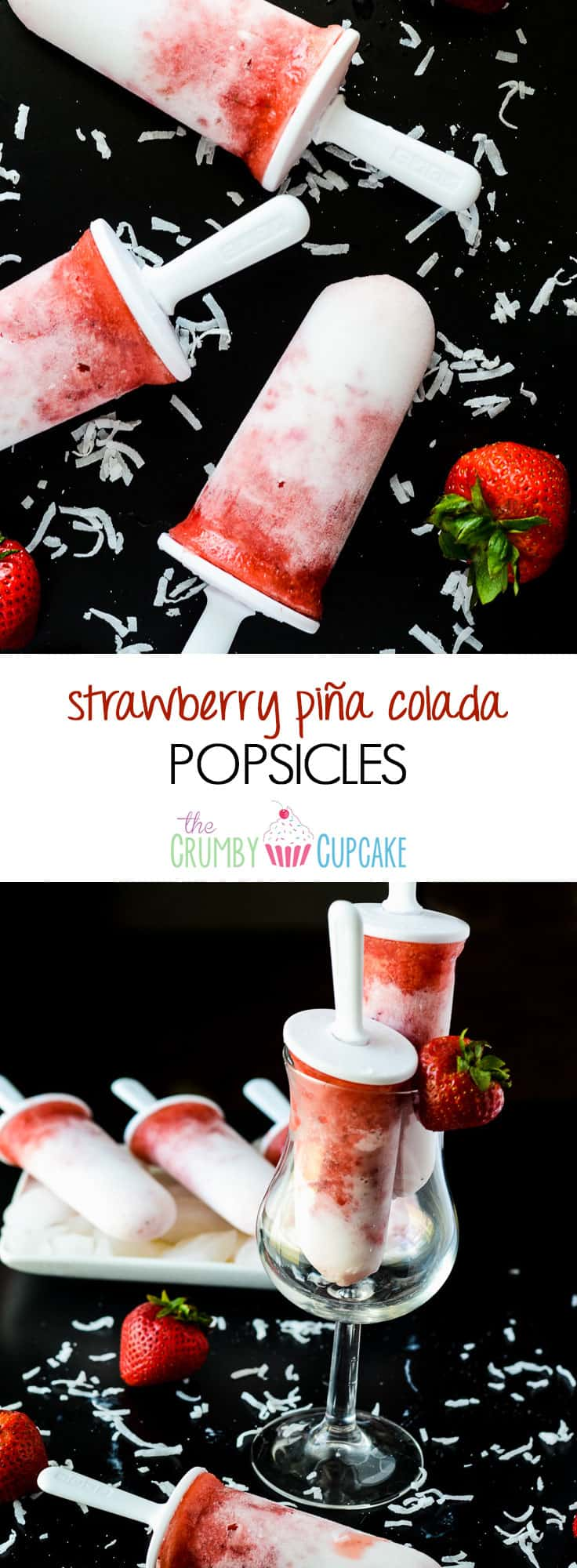 Strawberry Pina Colada Popsicles | A frosty, refreshing treat, made with fresh fruit and coconut milk, sweetened with agave, and spiked with coconut rum for the grown ups!
