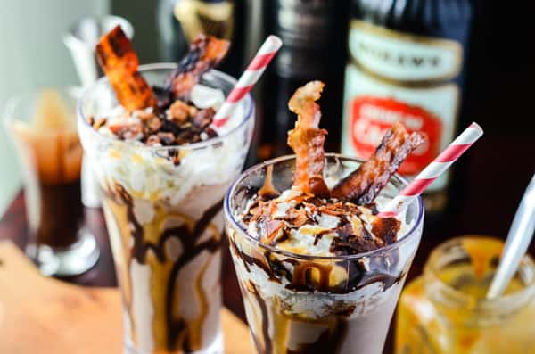 Twist & Shout Shake | A Hard Rock Cafe copycat, this boozy milkshake combines chocolate, caramel, spiced rum, stout, and bacon in an epic after dinner event!