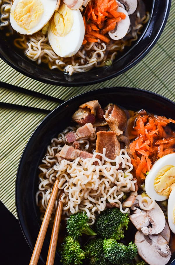 Bacon Miso Ramen |A 30-minute miso ramen dish, created in tribute to Japanese culture, but enhanced with an essential American fat - bacon!