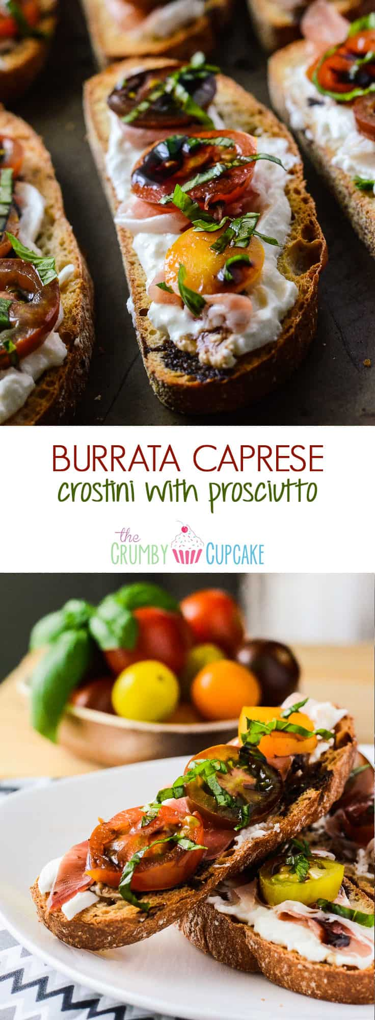 Burrata Caprese Crostini with Prosciutto   A creamy twist on a classic caprese crostini - toasted ciabatta topped with burrata, prosciutto, mini heirloom tomatoes, basil & balsamic.