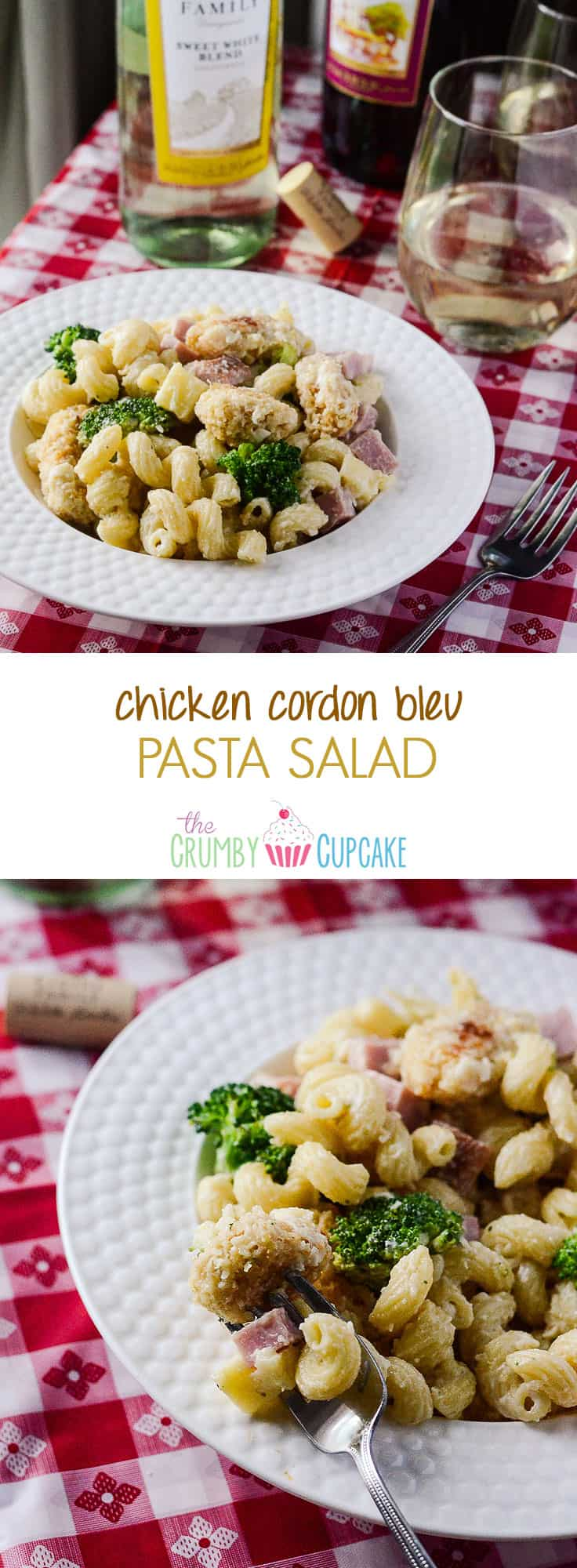 Chicken Cordon Bleu Pasta Salad | A perfect summer pasta salad with a bit of a fancier side - all the frills of Chicken Cordon Bleu, but perfect to bring to any picnic, party, or BBQ!