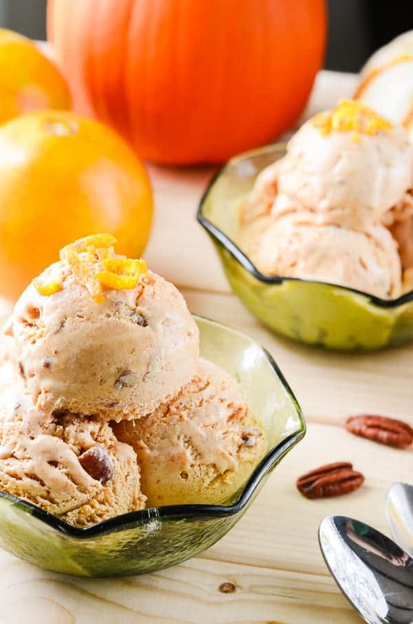 Sunshine Pumpkin Ice Cream | The perfect ice cream for year-round pumpkin lovers! A sweet pumpkin & pecan spiced ice cream, brightened up with citrus - and enjoyable any day of the year!