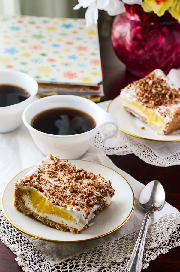 Nana's Million Dollar Cake | A light, refreshing cheesecake-style pudding cake, pulled from Nana's handwritten vintage cookbook!