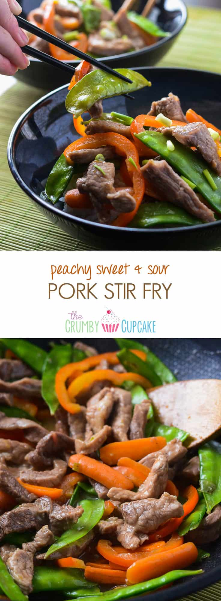 Peachy Sweet & Sour Pork Stir Fry | A delicious stir fry dinner you can have on the table in 30 minutes, doused in a tangy peach sweet & sour sauce!